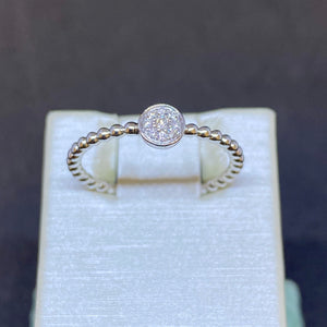 14K White Gold Diamond Bead Ring