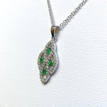 Load image into Gallery viewer, 14k White Gold Emerald Pendant