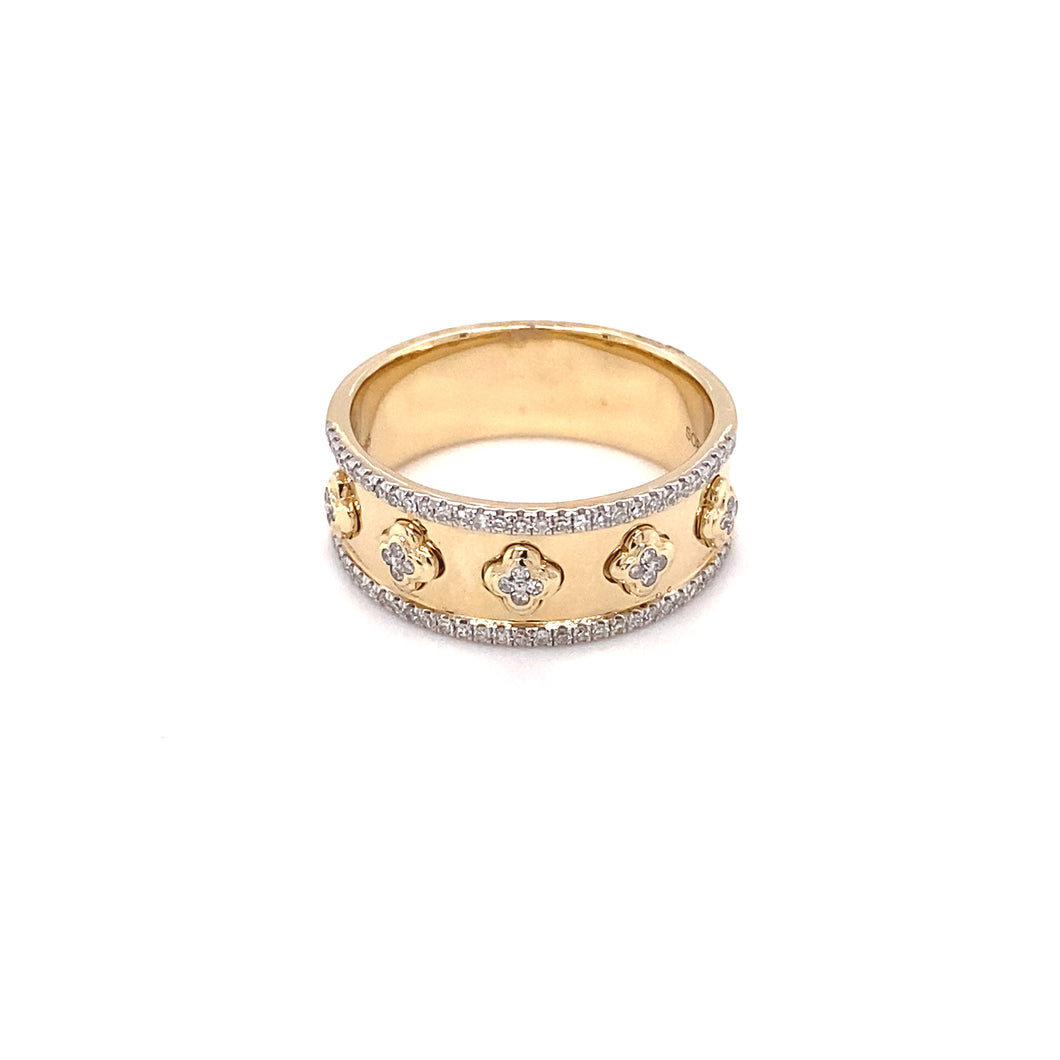 Yellow Gold and Diamond Clover Ring