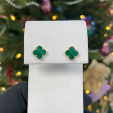 Load image into Gallery viewer, Malachite Clover Earrings