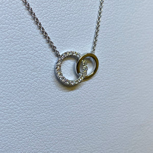 14K White Gold Mini Double Circle Diamond Necklace