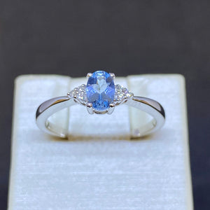 Three Stone Aquamarine and Diamond Ring