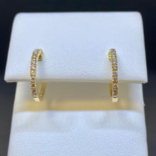 Load image into Gallery viewer, 14K Yellow Gold Diamond Hoop Earrings