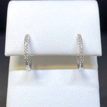 Load image into Gallery viewer, 14K White Gold Diamond Hoops