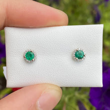 Load image into Gallery viewer, Emerald Stud Earrings