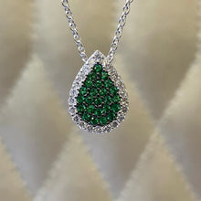 Load image into Gallery viewer, 18K White Gold Tsavorite and Diamond Necklace