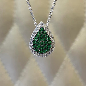 18K White Gold Tsavorite and Diamond Necklace