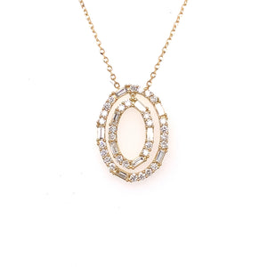 18k Yellow Gold Double Oval Diamond Necklace