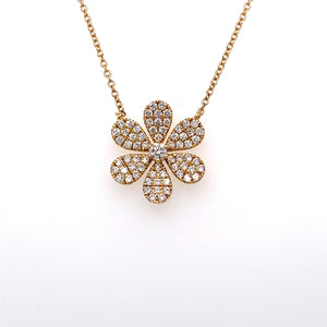 14K Yellow Gold Diamond Flower Necklace