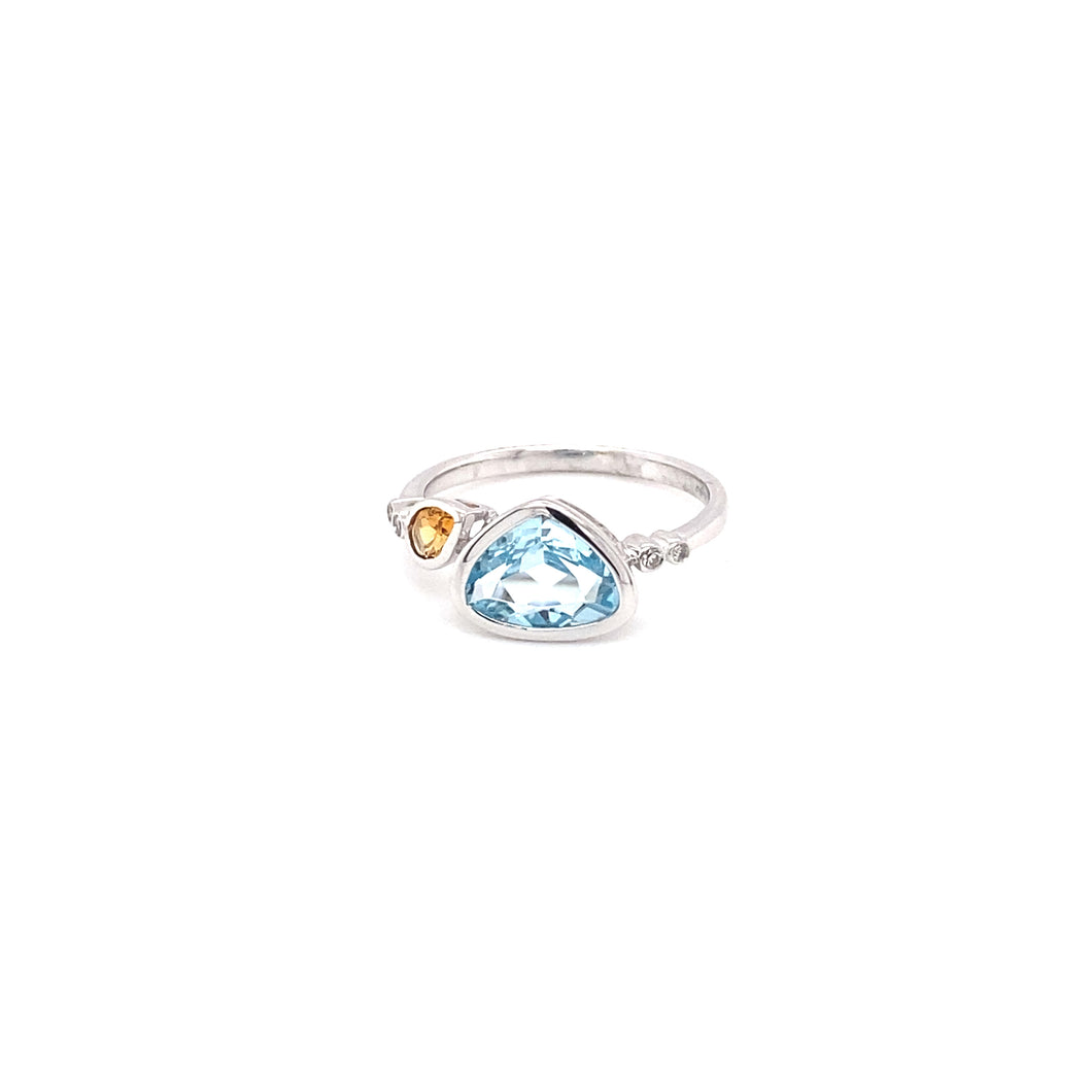 14K White Gold Topaz, Citrine, and Diamond Ring