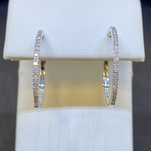 14K White Gold Inside Outside Diamond Hoop Earrings