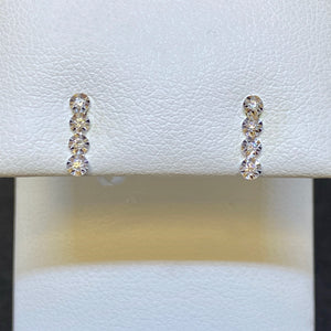 14K White Gold Petite Bar Earrings