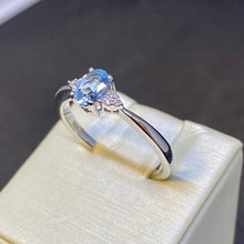 Load image into Gallery viewer, Three Stone Aquamarine and Diamond Ring