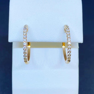 14K Rose Gold Diamond Hoop Earrings
