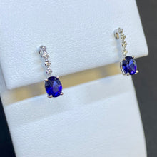Load image into Gallery viewer, 14K White Gold Sapphire and Diamond Earrings