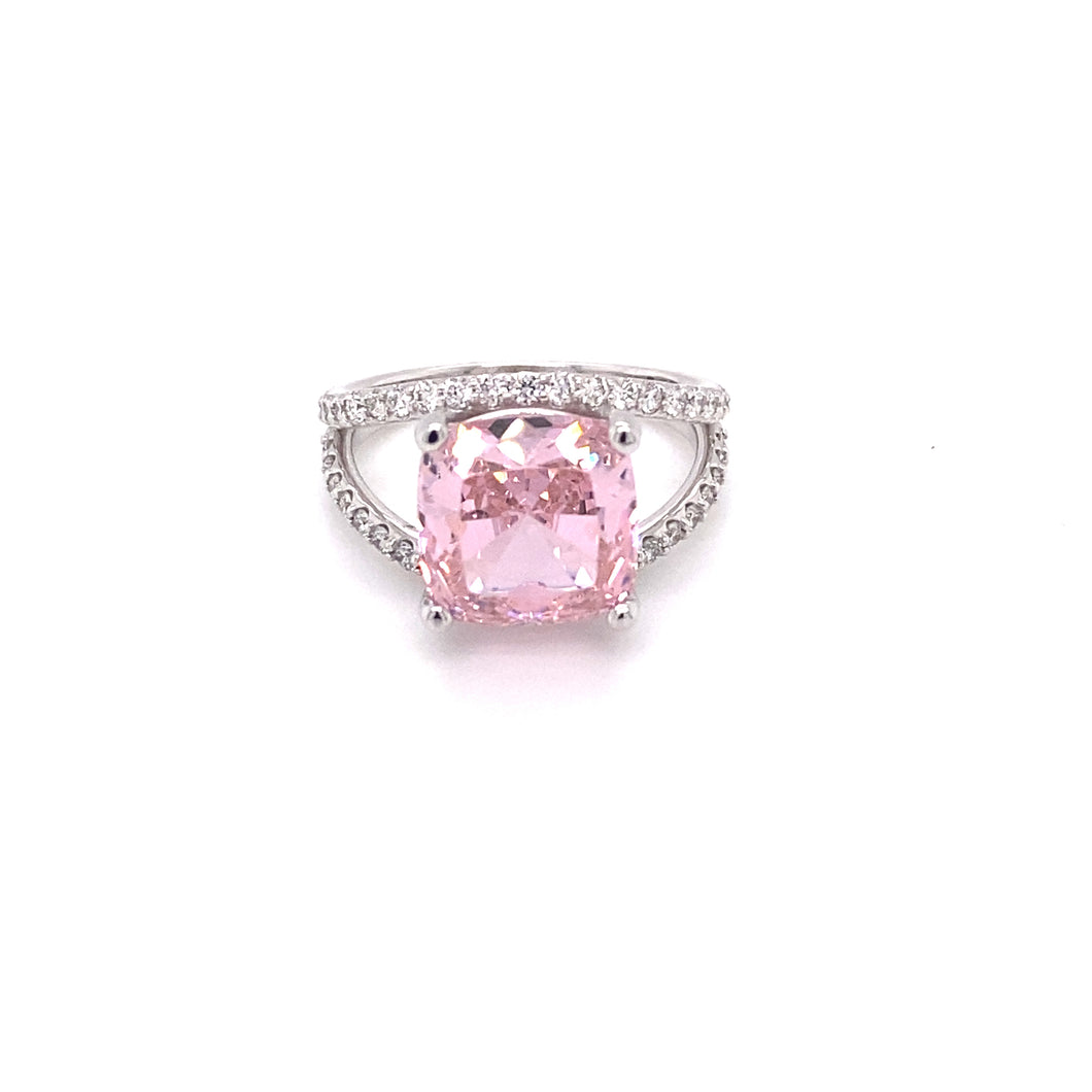 White Gold Pink Topaz and Diamond Ring