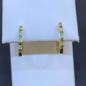 14K Yellow Gold Emerald and Diamond Hoops