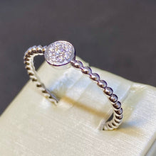 Load image into Gallery viewer, 14K White Gold Diamond Bead Ring