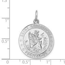 Load image into Gallery viewer, Sterling Silver Rhodium-plated Saint Christopher Medal