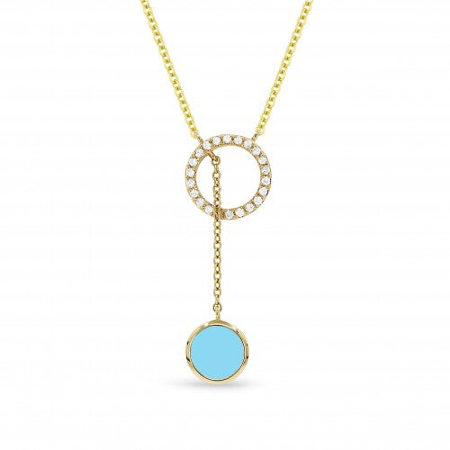 14K Yellow Gold Diamond and Turquoise Round Necklace