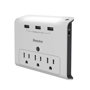 Huntkey Wall Outlet Extender, 3 Outlets Expander, 3 USB Charging Ports, Auto Sensor LED Nightlight (SMD30734)