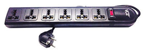 VCT 220V-250V Universal Power Strip & Surge Protector, 6-Outlets, Black (WPS-B)