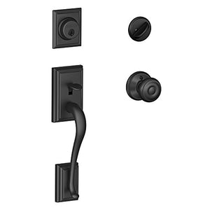 Addison Single Cylinder Handleset and Georgian Knob, Matte Black (F60 ADD 622 GEO)