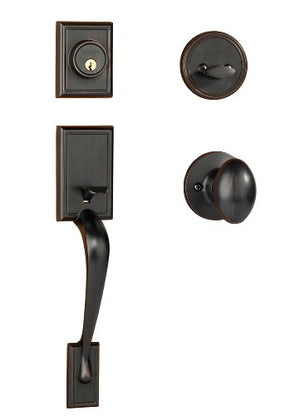 Dynasty Hardware RID-ASP-100-12P Ridgecrest Front Door Handleset, Aged Oil Rubbed Bronze with Aspen Knob
