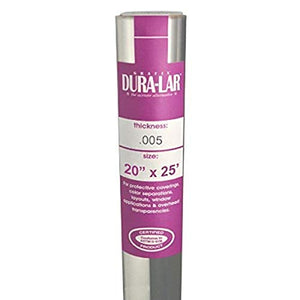 Grafix Dura-Lar .005 Ultra-Clear Film, Acetate Alternative, Glossy Surface for Coverings, Stencils, Color Separation, Window Applications, Transparencies, and More, 20