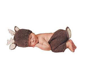 Pinbo Newborn Baby Photography Prop Crochet Knitted Deer Hat Pants