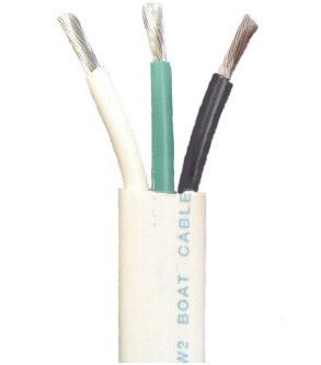14/3 AWG Triplex Tinned Marine Wire, Black/Green/White 100 Feet