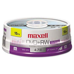 Dvd+rw Discs, 4.7gb, 4x, Spindle, Silver, 15/pack By: Maxell