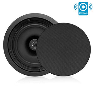 Pyle PDIC81RDBK, 8'' Ceiling Wall Mount Speakers - Pair of 2-Way Midbass Woofer Speaker 1/2'' Polymer Dome Tweeter Flush Design w/ 50Hz - 20kHz Frequency Response & 250 Watts Peak Easy Installation