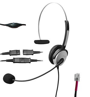 Voistek A2H10PKXT Mono Call Center Telephone Headset with Noise Canceling Microphone + Quick Disconnect+ Volume Mute Controls for Grandstream GXP14XX GXP2140 GXV3275 Yealink SIP-T19P T48G Snom 320 870