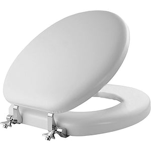 Mayfair 13 Cp 000 Soft Toilet Seat With Chrome Hinges, Round, Padded With Wood Core, White