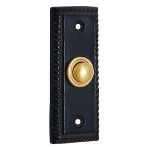 Adonai Hardware Rectangular Georgian Iron Bell Push or Door Bell or Push Button (Black Powdercoated)
