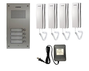 Commax 4-Apartment Building Audio Intercom Set