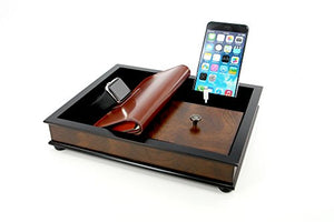 Decorebay Walnut Brown Wood Charging Station for Smartphones Compatible with Select Apple Watches