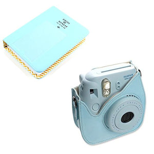 CLOVER Bundle Set Blue 64 Pockets Photo Album / Blue Instax Mini 8 Mini 9 Case for Fuji Instax Mini 8