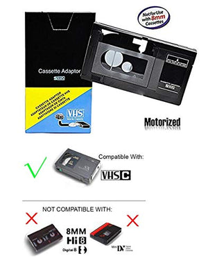 Motorized VHS-C Cassette Adapter For JVC C-P7U CP6BKU C-P6U,Panasonic PV-P1,RCA VCA115, Model: , Electronics & Accessories Store