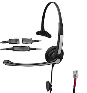 Voistek A2S10TPKXT Mono Call Center Telephone Headset with Noise Canceling Microphone + Quick Disconnect for Grandstream GXP14XX GXP2140 GXV3275 Yealink SIP-T19P T48G Snom 320 870 Panasonic KX-T Serie