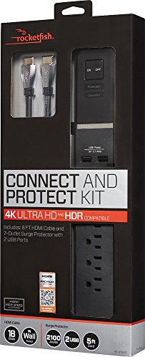 Rocketfish Connect & Protect Surge Protector 4K UHD 7-Outlet 2-USB RF-HTB517
