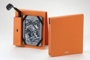 Periscope Flip Cover+Light for Kindle Wi-Fi, Kindle Touch, nook Simple Touch and Sony PRS-T1 in Orange Microfiber fabric
