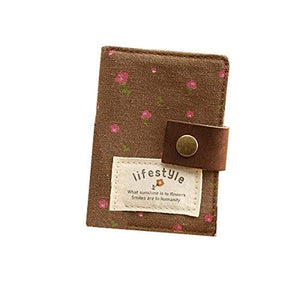Hurricanes 20 Pockets Retro Portable Canvas Floral Girly Name Business Credit Card Holder Instant Pictures Photo Album for Polaroid Fujifilm Instax Mini 70 7S 8 25 50S 90 Films - Brown