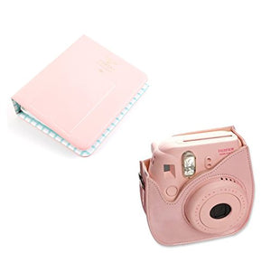 CLOVER Bundle Set Pink 64 Pockets Photo Album / Pink Instax Mini 8 Mini 9 Case for Fuji Instax Mini 8