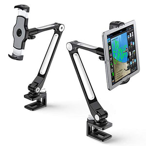 AboveTEK Sturdy iPad Holder, Aluminum Long Arm iPad Tablet Mount, 360 Swivel Tablet Stand & Phone Holder with Bracket Cradle Clamps 4-11