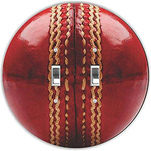 Rikki Knight RND-LSPDBL-207 Cricket Ball Round Design Double Toggle Light Switch Plate, Red