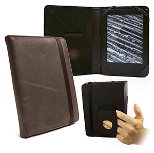 TUFF LUV Embrace Case Cover for PRS-T1 / T2 & Kobo Touch E-Readers - 'Western' Leather - Brown