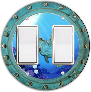Rikki Knight RND-LSPROCKDBL-190 Tortoise in Porthole Round Double Rocker Light Switch Plate