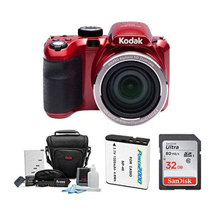 Kodak AZ421 PIXPRO Astro 16MP Digital Camera (Red) with 32GB SD Card and Accessory Bundle